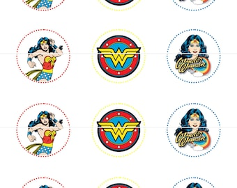 Wonder Woman Party Cupcake Toppers Tags Stickers DIY Printable File