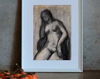 Nude drawing in Beige,  Crayon drawing, Sitting figure, Woman silhouette, Charcoal Figurative drawing,  wall art