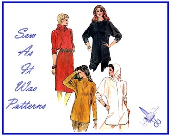 """1970s Easy Vogue 8161 Blouson Dress Loose Fitting Top Dolman Sleeves Hood Snood Collar Vintage Sewing Pattern Size 12 14 16 Bust 34 36 38"""""""