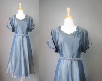 Blue Cocktail Dress / Vtg 50s / Teal Blue Flowy Cocktail Dress