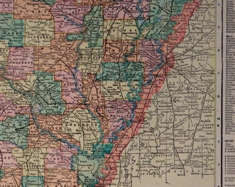 1902.ARKANSAS.Antique Map in color.Poster map.Antique map of Arkansas.Good size.Old maps.Vintage maps.11.3x14.4 inches or 29x37 cm.