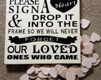 Hearts Guestbook, Frame and Wood Hearts