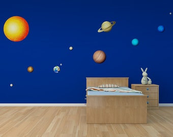 Solar System 11 Piece Printed Matte Removable Wall Decals| nasa decor solar system decal planet decals space wall decals planet wall decals