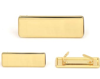 Blank Metal Name Tags Metal Labels Luggage Tags Studs Gold Tone B0305 10 pcs.