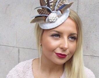 Silver Grey Brown Pheasant Feather Fascinator Hat Headpiece Hair Clip Vtg 2593