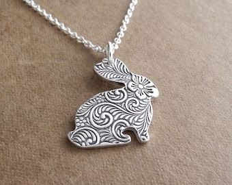 Small Rabbit Necklace, Little Flowered Rabbit, Small Bunny Necklace, Fine Silver, Sterling Silver Chain, Made To Order