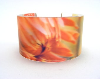 Flower Perspex Cuff Bangle, Wide Cuff Salmon Pink Colour, Acrylic Handmade Cuff