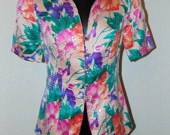 Vintage 1980s Colorful Sequin Design Jacket Top