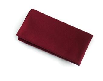 Burgundy pocket square for boys and men.