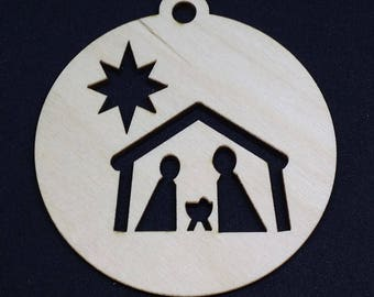 Nativity Scene Christmas Bauble – 3mm Birch - Laser cut - Laser cut Approx 75mm x 75mm - Made in the United Kingdom