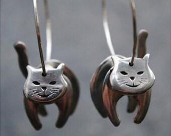 Cat Hoop Pewter Earrings
