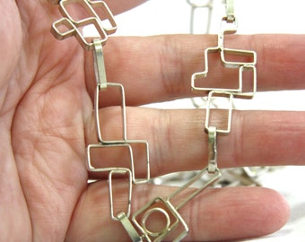 Long Modern Squares Geometric Handmade Solid Sterling Silver Necklace , Heavy Chain , OOAK , Ready to Ship
