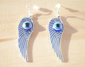 Evil Eye Wing Earrings, Charm Earrings, Jewelry Findings