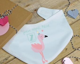 Baby flamingo 1st birthday bandana bib - personalised, dribble bib, feeding bib, drool bib, first birthday, birthday gift, baby girl, pink