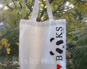 """Panda """"I Heart BOOKS"""" Tote Bags"""