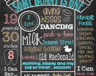 Some Bunny Is One Birthday Chalkboard Poster Sign First Birthday Bunny Some Bunny Is Turning One