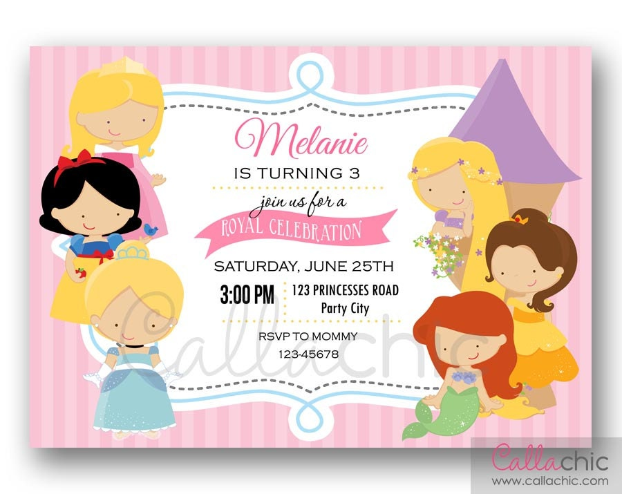 Princesses Birthday Invitation PRINTABLE Princess Inspired
