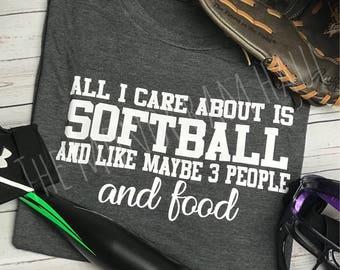 Softball Tshirt for teen / Humor / All I care about is softball and food / Teenager