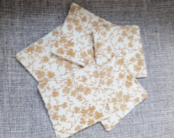 wipes Japanese, mustard and cream floral pattern