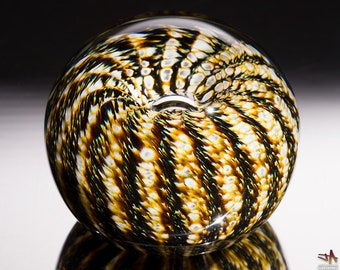 Handcrafted Glass Paperweight - White Gold and Brown Stripes