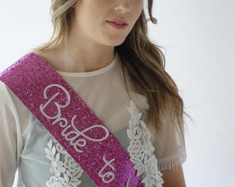 Hen Party Sash - Fuschia Pink - Bride to be - Bridal Shower - pink glitter handmade - Bachelorette Party