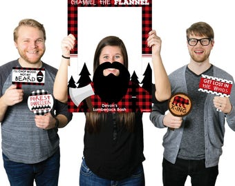 Lumberjack - Personalized Buffalo Plaid Selfie Photo Booth Picture Frame Prop - Channel The Flannel Selfie Prop - Printed on Sturdy Material