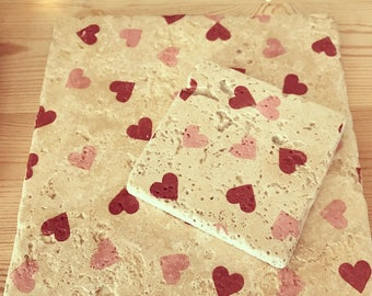 Pink hearts pot stands and coasters