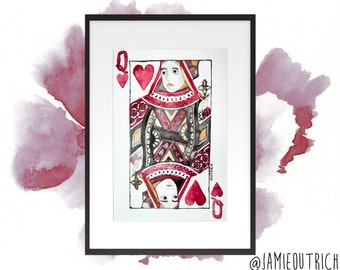 Queen Of Hearts Playing Card Watercolor Print