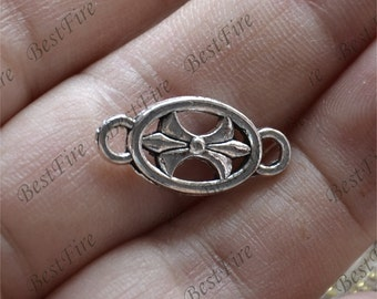 20 PCS Of 10x25 mm Antique silver flower Connector findings,metal finding,pendant beads,two holes Charms