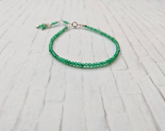 Green Onyx Beaded Bracelet, Sterling Silver Green Onyx Jewelry, Gem Bracelet, Everyday Jewellery