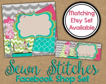 Facebook Timeline Cover - Sewing Facebook Shop Set - Sewing Profile Image - Embroidery Facebook Banner - Sewing Shop Set - Facebook Graphics