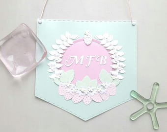 Paper art banner with flowers and strawberries, can be personalised.