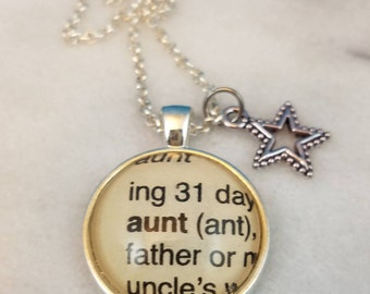 Aunt vintage dictionary word glass dome pendant with star charm