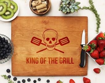 King of the Grill, Custom Cutting Board, Personalized Cutting Board, Grill BBQ Father's Day Housewarming Dad Cherry Wood --21156-CUTB-003