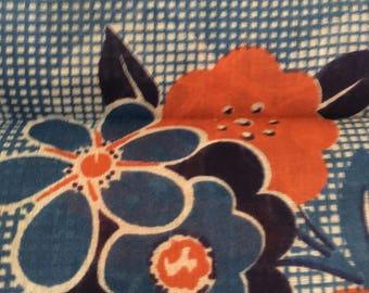 NOS Navy, Red, Cornflower Blue & White Floral Handkerchief