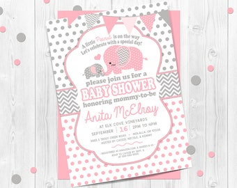 Pink Polka Dot Elephant Baby Shower Invitation, Polka Dot, Pink Polka Dot, Elephant Baby Shower, Printable Polka Dot Elephant, Pink and Gray