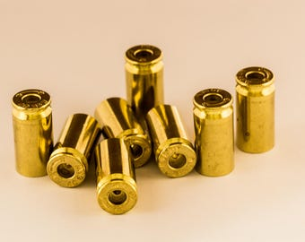 Set of 10! Drilled Bullet Casing BEADS! .40 Caliber, Gold Tone, Polished, With a Hole! Empty Spent Ammo Cartridge Shells