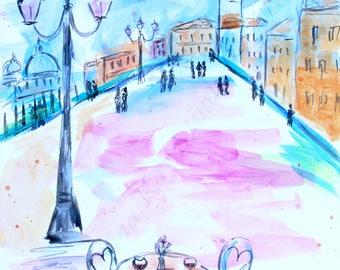 SALE! Venice Cafe - ORIGINAL painting, 10 x 15 in., watercolor on watercolor board, ready to ship!