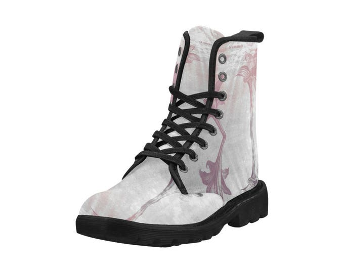 Botanical Indian lily daffodil II, Women's high top combat boots, 80's style, feminine prints