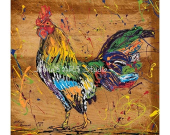 Rooster art, Chicken art, Noodles to Rooster,  Chicken painting Limited Edition Giclee by Johno