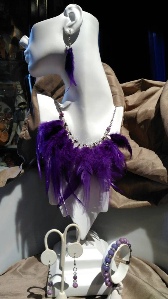 Purple Plums of Fantasy....      Feather beads and crystal necklace bracelet and 2 sets of earrings
