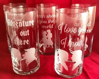 5 Engraved Wedding centerpieces Assorted Disney Theme Your Character Choice and quote choice Custom Centerpieces Table Numbers by Theme