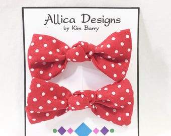 Hair Bow Clip Set - White Dots on Red - Free Shipping in the US