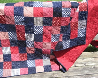 Made to Order Full or Queen Size Custom Patchwork Quilt. Patriotic Double Bed Quilt. Graduation Gift. Guy Quilt. Red Quilt. Blue Quilt