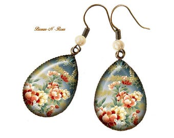 Drop earrings * flowers of Japan * cabochon bronze beige and Red Asian