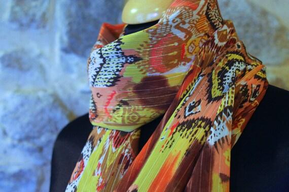 Promo Studio space. Shawl Orange yellow patterned ethnic viscose. scarf. square. Balance accessory