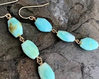 Peruvian Opal Link Earrings, 14K Gold Filled French Ear Wires
