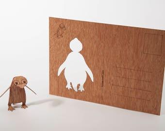 postcard wood - penguin 3 cards
