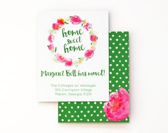 Moving Announcements Change of Address Cards Floral Watercolor Moving Card Custom We've Moved Announcements Personalized New Home Pink Green