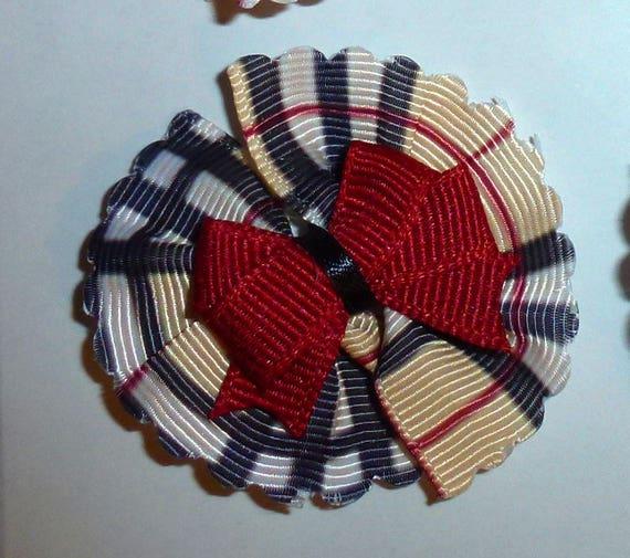 Puppy Bows ~ 4 Pawberry tan black plaid scalloped pinwheel pet hair bow latex band ~Usa seller (fb91)